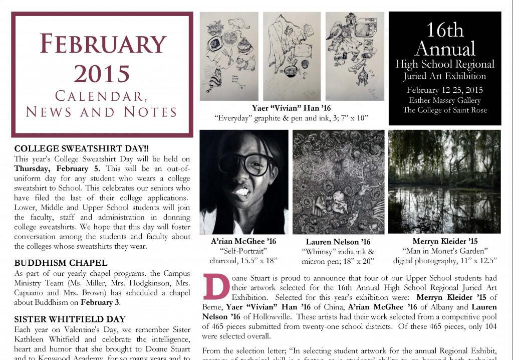February Calendar News and Notes