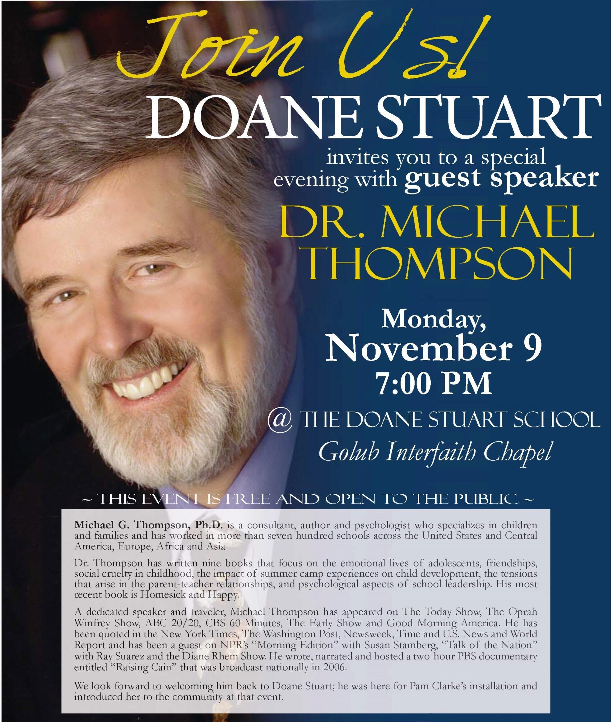 guest speaker dr michael thompson doane stuart